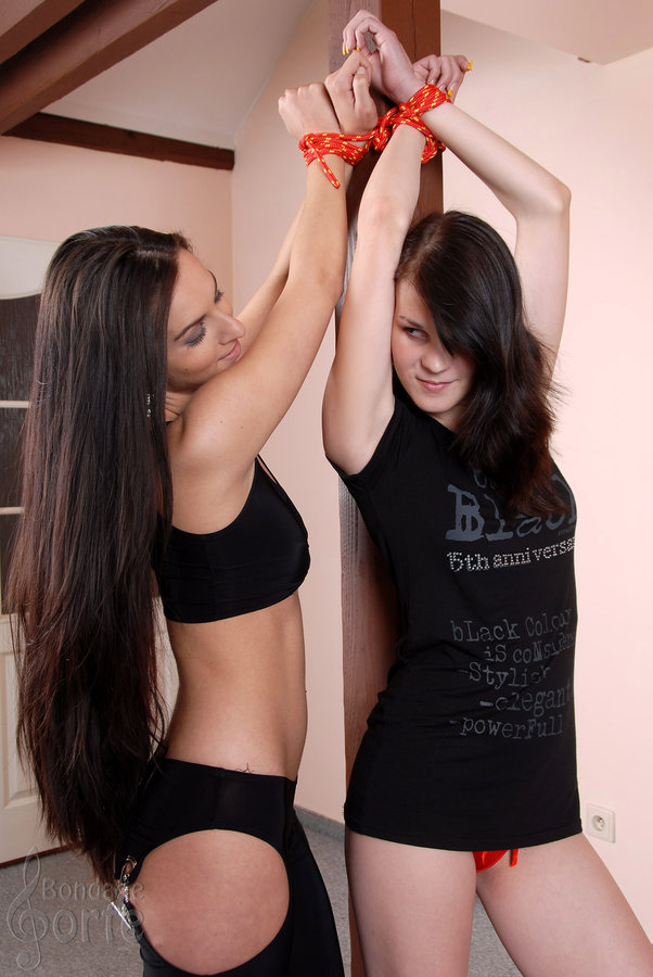 Two nice brunettes tied together